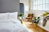 vintage bedroom morning light industrial loft