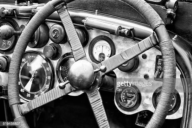 Vintage Bentley race car dashboard