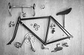 Vintage bicycle parts in black and white tone