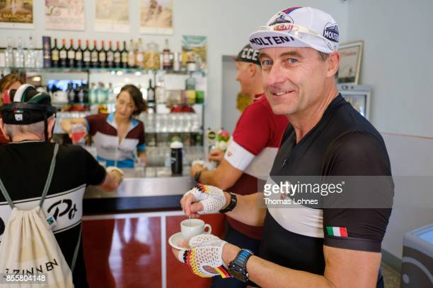 Vintage bicylcle enthusiasts drink coffee at the AgribarEroica Caffe di Brolio during the 21st edition of the 'L'Eroica of Gaiole in Chianti'...