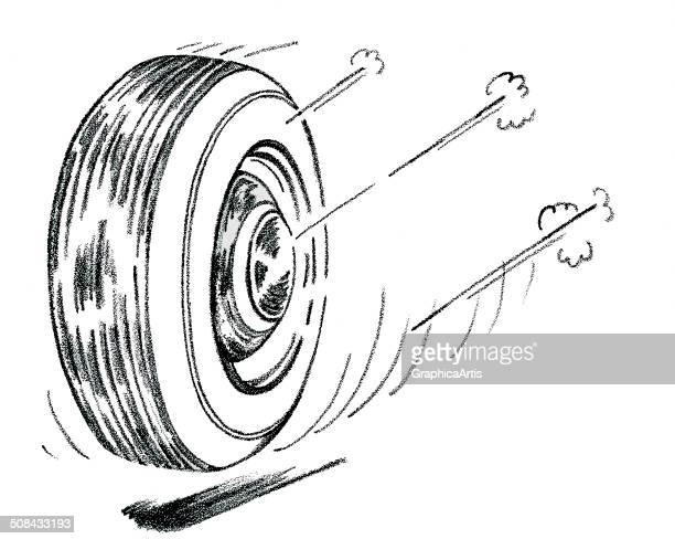 Vintage black and white illustration of a tire speeding down a road 1951 Screen print