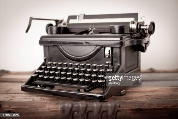 Vintage Black, Manual Typewriter, on White Background