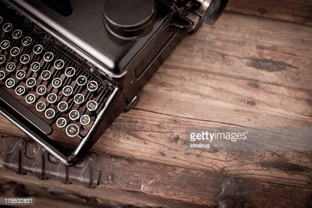 Vintage Black, Manual Typewriter on Wood Trunk, With Copy Space