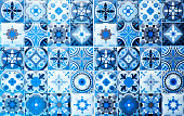vintage blue ceramic tiles wall decoration.Turkish ceramic tiles wall background