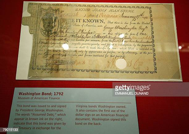 A vintage bond signed by former US president George Washington in 1792 with the first everrecorded use of the '$' sign is on display at the Museum of...