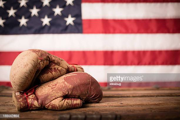 Vintage Boxing Gloves in Front of American Flag