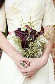 Vintage Bride with Purple Cala Lily Bouquet