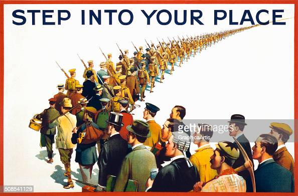 Vintage British WWI propaganda poster 'Step Into Your Place' showing men from a variety of occupations queueing up to join the army 1915 Lithograph