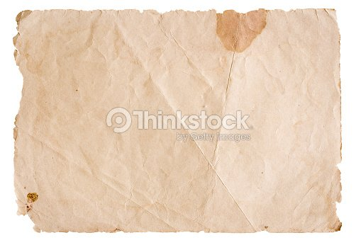 Vintage Brown Paper Isolated On White Background Stock Photo