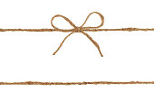 Vintage burlap rope bow for gift decoration isolated on white background