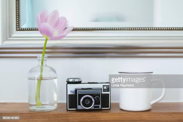 A vintage camera, a mug and a tulip