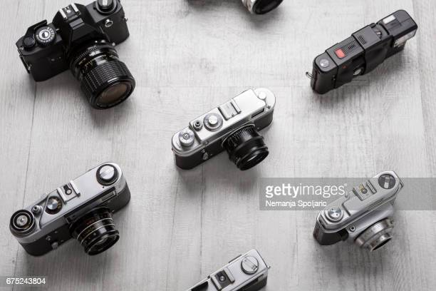 Vintage cameras from above