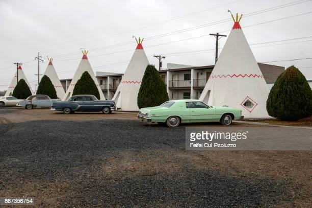 Vintage car and Indian tipi at Holbrook, Arizona state, USA