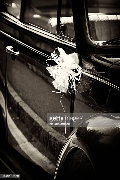 Vintage Car Decorated with Wedding Favour, Sepia Tone