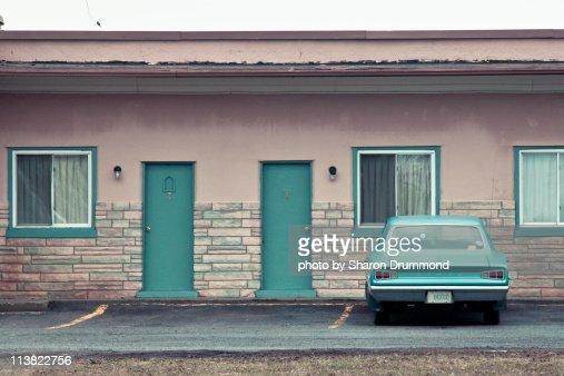 Vintage Car in front of Motel