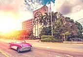 vintage car park in Piaze De Revolution in  Havana, Cuba.Vintage filtered photo effect