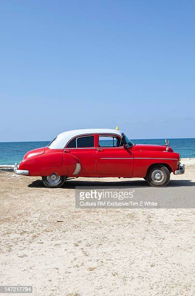 Vintage car on beach