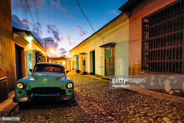 Vintage Car parked in a Cuban Road, Trinidad