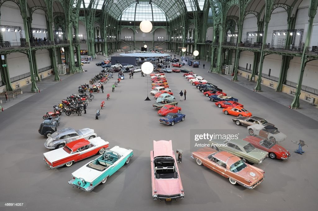 Vintage cars and motorbikes are displayed during an exhibition, by Bonhams auction house, at Le Grand Palais on February 5, 2014 in Paris, France.