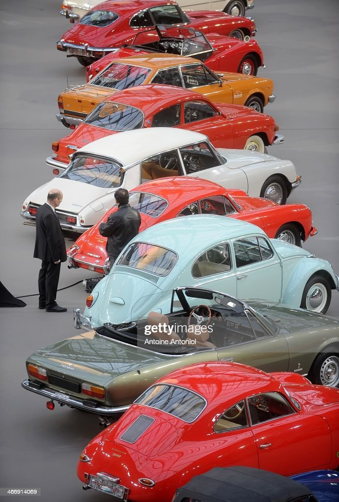 Vintage cars are displayed during an exhibition, by Bonhams auction house, at Le Grand Palais on February 5, 2014 in Paris, France.