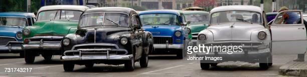 Vintage cars on street