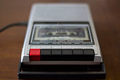 Vintage cassette tape player recorder with audio tape cassette inside