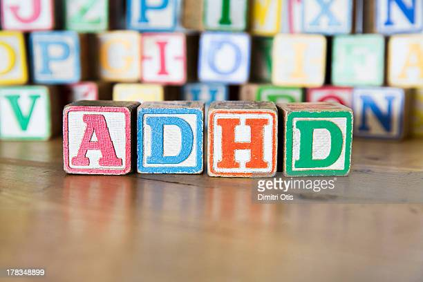 Vintage childrens alphabet blocks spelling ADHD