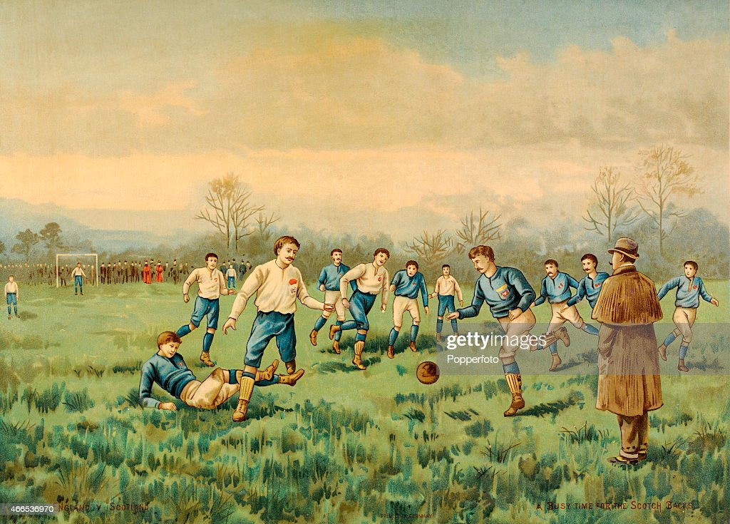 A vintage chromolithograph depicting an artist's impression of an International football match played during the late 19th century between England...