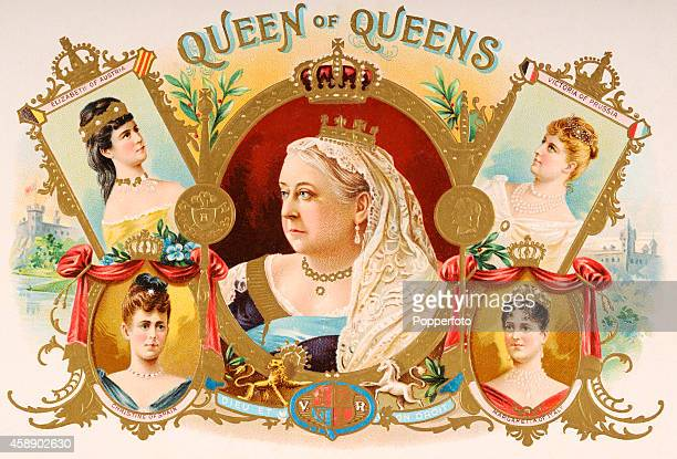 A vintage cigar box label with an illustration featuring five European Queens circa 1900 Anticlockwise from top left Queen Elizabeth of Austria Queen...