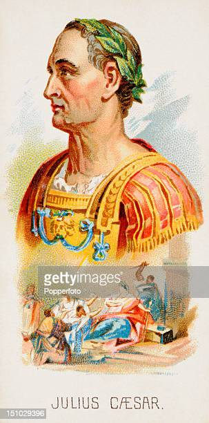 Vintage cigarette card featuring an illustration of Roman emperor Julius Caesar from a series entitled 'Leaders' issued in 1889