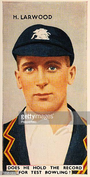 A vintage cigarette card featuring Harold Larwood Nottingham and England fast bowler circa 1935