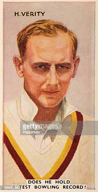 A vintage cigarette card featuring Hedley Verity Yorkshire and England cricketer circa 1935