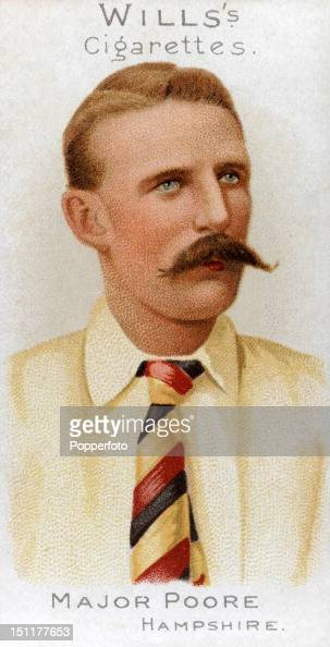 Vintage cigarette card featuring Robert Montagu Poore who played cricket for Hampshire and South Africa circa 1901 In later life he achieved the rank...