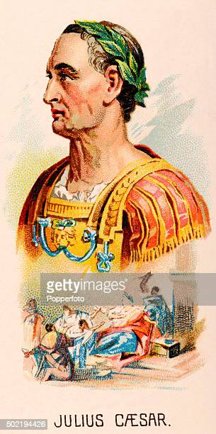 A vintage cigarette card featuring Roman emperor Julius Caesar including his assassination published in New York City circa 1889