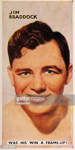 A vintage cigarette card featuring the heavyweight IrishAmerican boxer Jim Braddock circa 1935