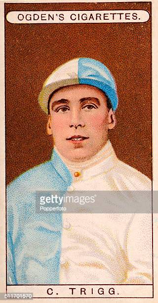 A vintage cigarette card illustration featuring the jockey C Triggs in the colours of Sir John Thursby circa 1904