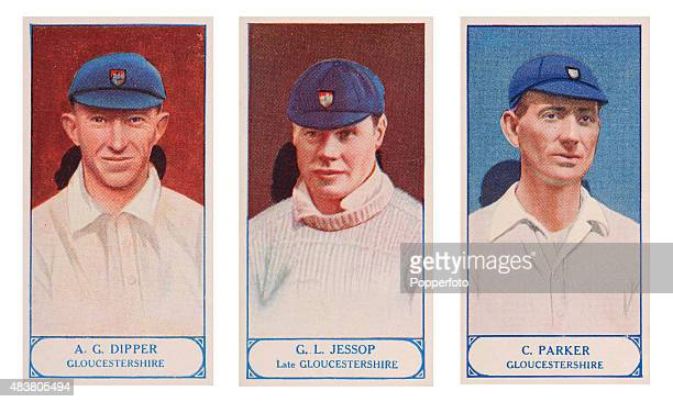Vintage cigarette cards featuring Alfred Dipper Gilbert Jessop and Charlie Parker of Gloucestershire County Cricket Club published circa 1928