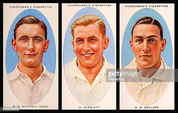 Vintage cigarette cards featuring left to right Somerset cricketers Mandy MitchellInnes Harold Gimblett and Arthur Wellard circa 1936