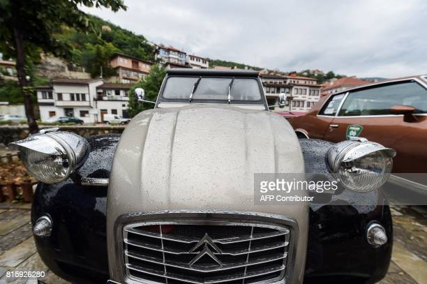 A vintage Citroen car is displayed during the 12th Old Timer Fest on July 17 2017 in the historic city of Prizren in southern Kosovo / AFP PHOTO /...