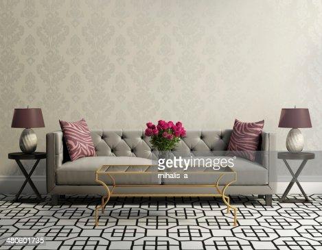 Vintage classic elegant living room with grey velvet sofa : Stock Photo