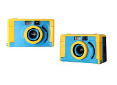 vintage colorful toy camera film on isolated white background