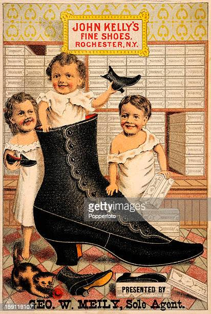 A vintage colour illustration advertising John Kelly's Fine Shoes presented by George W Meily sole agent featuring three little children and a cat...