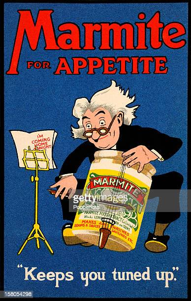 A vintage colour illustration advertising Marmite and featuring a cellist playing a Marmite jar circa 1920