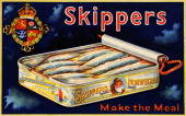 A vintage colour illustration advertising Skippers a small herringlike fish also known as bristling and featuring an opened tin of the product circa...