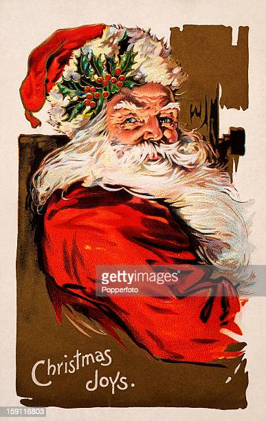 A vintage colour illustration featuring Santa Claus wishing 'Christmas Joys' published circa 1900