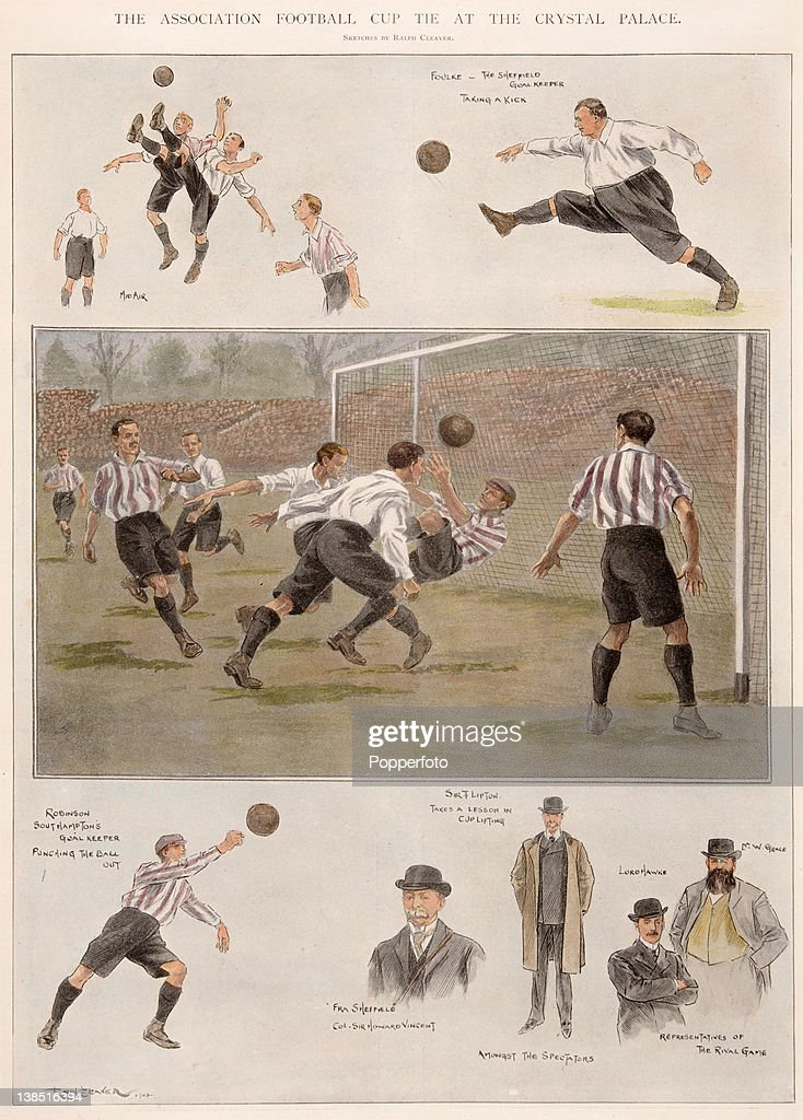 A vintage colour illustration featuring the English FA Cup Final between Sheffield United and Southampton played at Crystal Palace in London 19th...