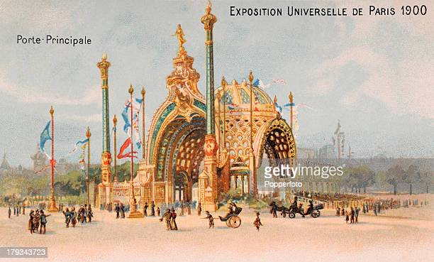 A vintage colour illustration featuring the main entrance to the Universal Exposition held in Paris which included the second modern Olympic Games...