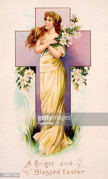 A vintage colour illustration of a young woman in a flowing gown with long hair clutching a bunch of Easter lilies in front of a cross commemorating...