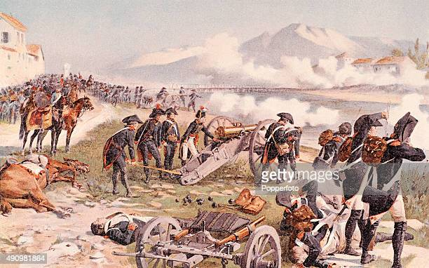 A vintage colour illustration of Napoleon Bonaparte aiming the cannon at Lodi during the Battle of Lodi on May 10th 1796