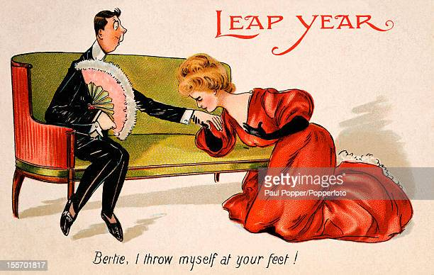 A vintage colour postcard celebrating Leap Year featuring a woman proposing marriage to a man published circa 1908